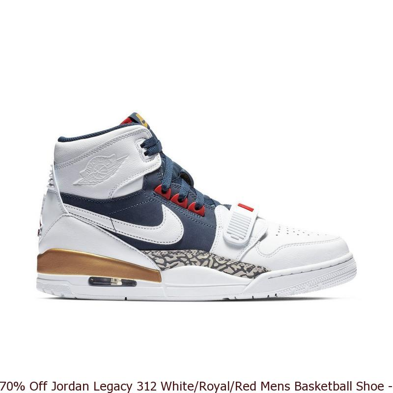 09739e6ebc80 70% Off Jordan Legacy 312 White Royal Red Mens Basketball Shoe ...