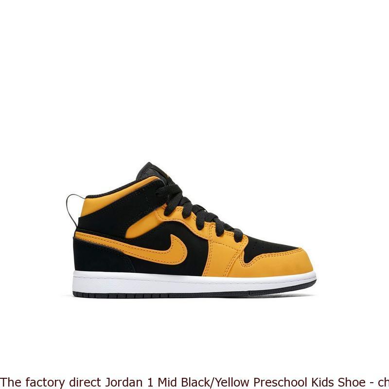 5f1d28c028ddd The factory direct Jordan 1 Mid Black Yellow Preschool Kids Shoe ...