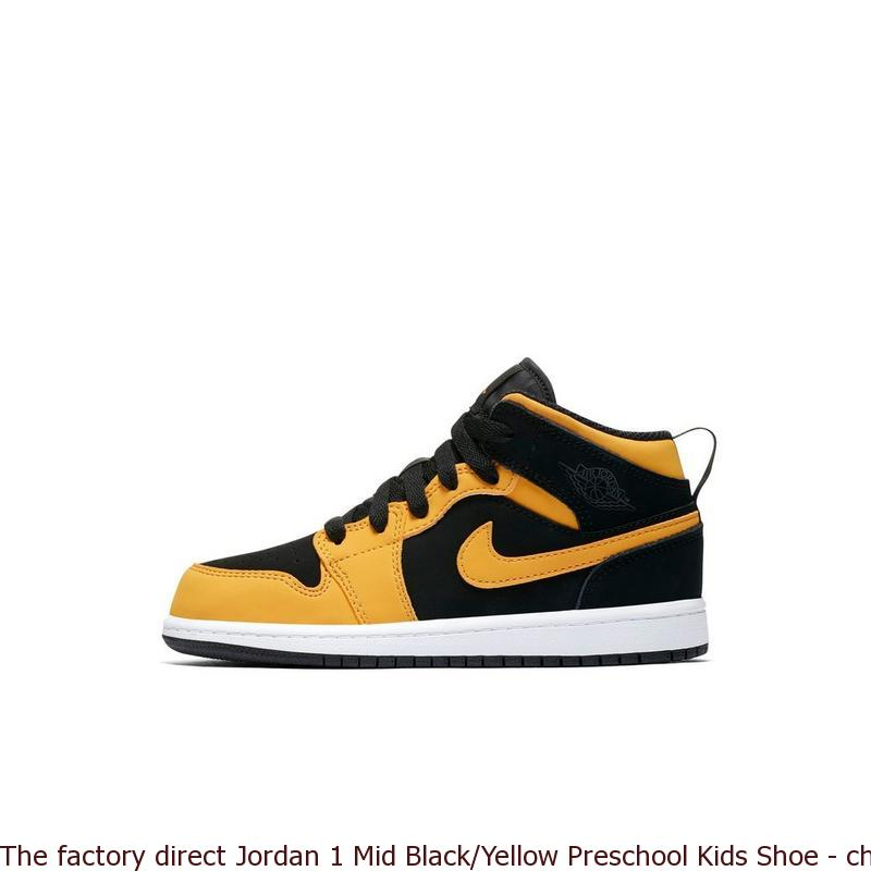 brand new 65536 fafc7 The factory direct Jordan 1 Mid Black/Yellow Preschool Kids Shoe - cheap  fake yeezys for sale - R0293