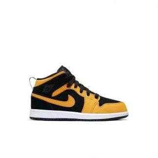 check out f04bc 7dc0c The factory direct Jordan 1 Mid Black Yellow Preschool Kids Shoe – cheap  fake yeezys for sale – R0293