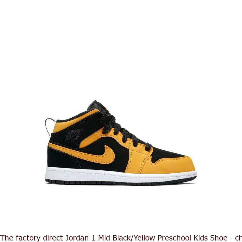 brand new f094e faf1d The factory direct Jordan 1 Mid Black/Yellow Preschool Kids Shoe - cheap  fake yeezys for sale - R0293